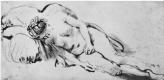 Рембрандт Ван Рейн. Спящая обнаженная натурщица