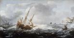 Ян Порселлис. Корабли в бушующем море у скалистого побережья