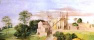 """Рафаэль Санти. Станца делла Сеньятура. Фреска """"Диспут"""". Фрагмент: пейзаж и архитектурные детали на заднем плане"""