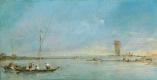Франческо Гварди. Вид на венецианскую лагуну с башней Малгера