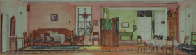"""""""Room in the house of the mayor. Sketch of scenery for the comedy by N.V. Gogol """"The Inspector"""" Museum of the Moscow Art Theater"""
