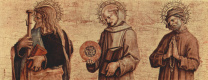 Карло Кривелли. Святой Яков Старший, Святой Бернардин Сиенский, Святой Никодим. Алтарный триптих, левая створка в основании алтаря