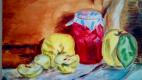 Гульнара Матюхина. Банка с вареньем и яблоки
