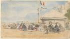Эжен Буден. Дом на пляже с флагами в Трувиле