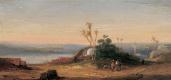 Валерий Иванович Якоби. «Восточный пейзаж с видом на город и двумя путешественниками на переднем плане» ранее 1902