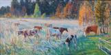 Eugene Butch. Autumn evening.the herd