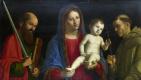 Джованни Баттиста Сима да Конельяно После. Дева с младенцем, святым Павлом и святым Франциском
