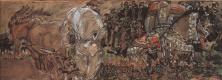 Михаил Александрович Врубель. Микула Селянинович. Эскиз-вариант декоративного панно для Всероссийской промышленной выставки и художественной выставки в Нижнем Новгороде