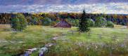 Шевелёв Александр Викторович. За околицей. оргалит,масло 27 # 61,5 см. 2008