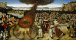 Lucas Cranach the Younger. The prophet Elijah and the priests of Baal. 1545