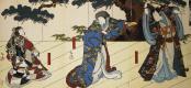Госотэй Хиросада. Триптих Актеры Дзицукава Энсабуро, Накаяма Нанси и Накамура Утаэмон IV