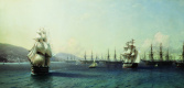 Ivan Aivazovsky. The black sea fleet in Feodosiya