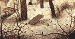 Питер Брейгель Старший. Зимний пейзаж с конькобежцами и ловушкой для птиц, фрагмент