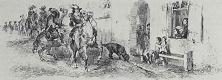Адольф фон Менцель. Художник зарисовывает из окна своего дома проезжающую мимо группу всадников