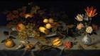 Балтазар ван дер Аст. Натюрморт с цветами в вазе и фруктами на блюде