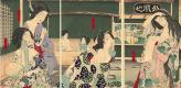 Цукиока Ёситоси. Триптих: Молодые женщины в купальне Даисоро