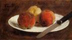 Анри Фантен-Латур. Тарелка с персиками