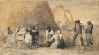 Жан-Франсуа Милле. Отдых сборщиков урожая (набросок для одноименной работы)