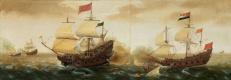 Корнелис Вербеек. Испанский галеон стреляет из пушек по голландскому кораблю