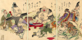 Цукиока Ёситоси. Триптих: Семь богов удачи предаются пьяному разгулу