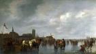 Абрахам ван Калрает. Сцена на льду вне Дордрехта