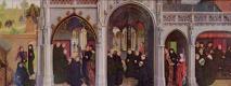 Симон Мармион. Алтарный образ церкви Сен-Бертен в Сент-Омере. Правая наружная створка. Сцены из жития св. Бертена