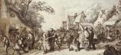 Корнелис Дюсарт. Веселящиеся крестьяне на деревенской улице