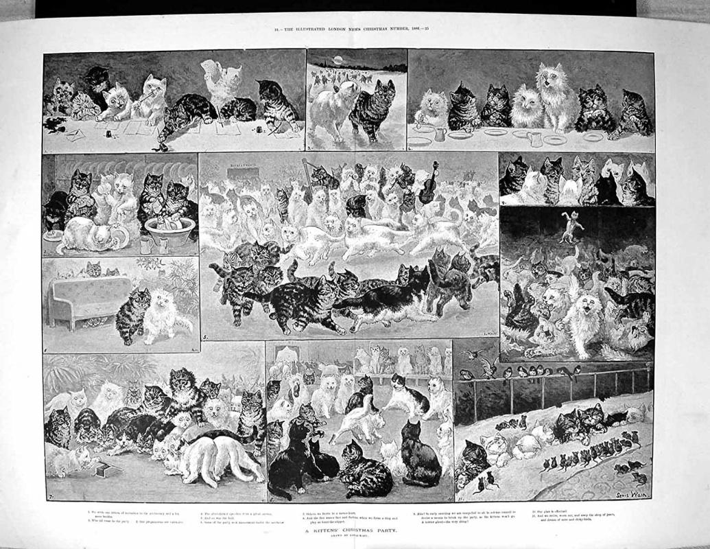 Луис Уэйн, «Рождество у котят» (1886)