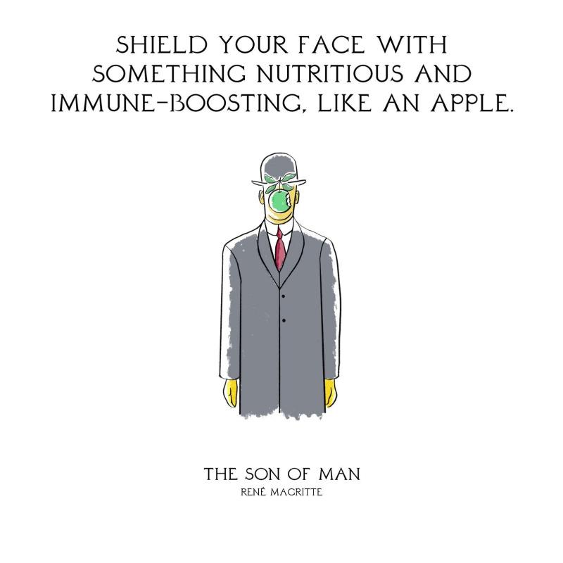 Защитить лицо чем-нибудь питательным и укрепляющим иммунитет, например яблоком. «Сын человеческий»,