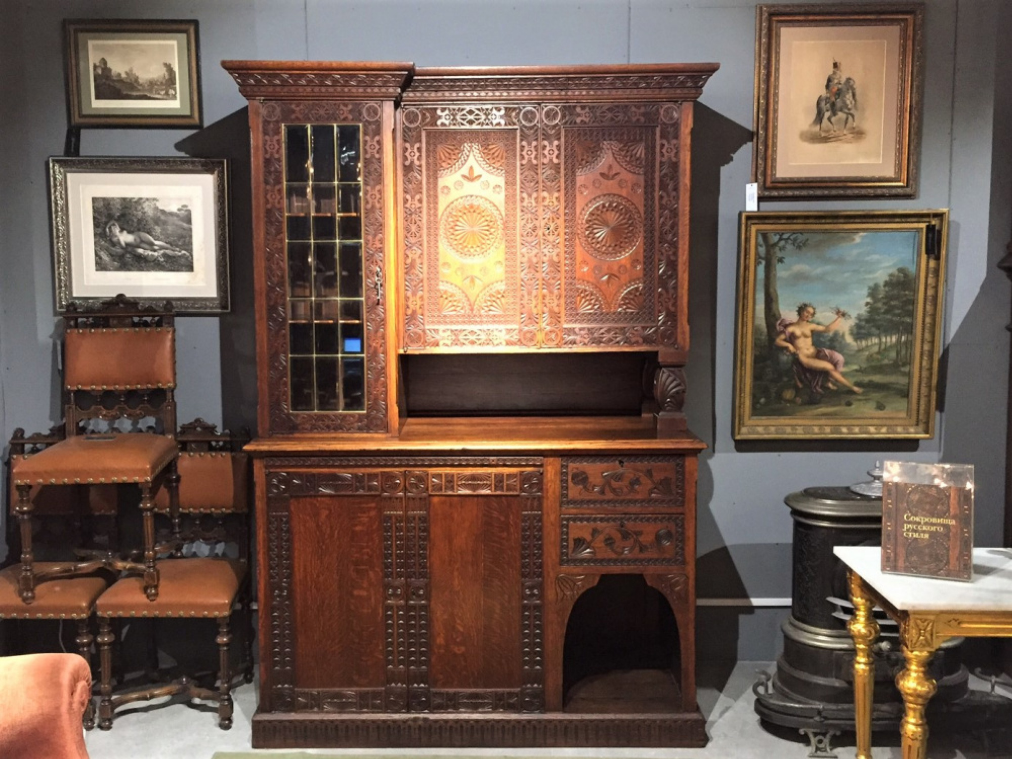 Three-part sideboard with stained-glass window in the Russian style, sketched by Elena Polenova. The