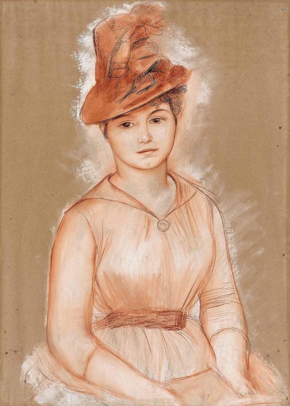 """Огюст Ренуар. """"Девушка в шляпе (Портрет неизвестной)"""". 1883–1885"""