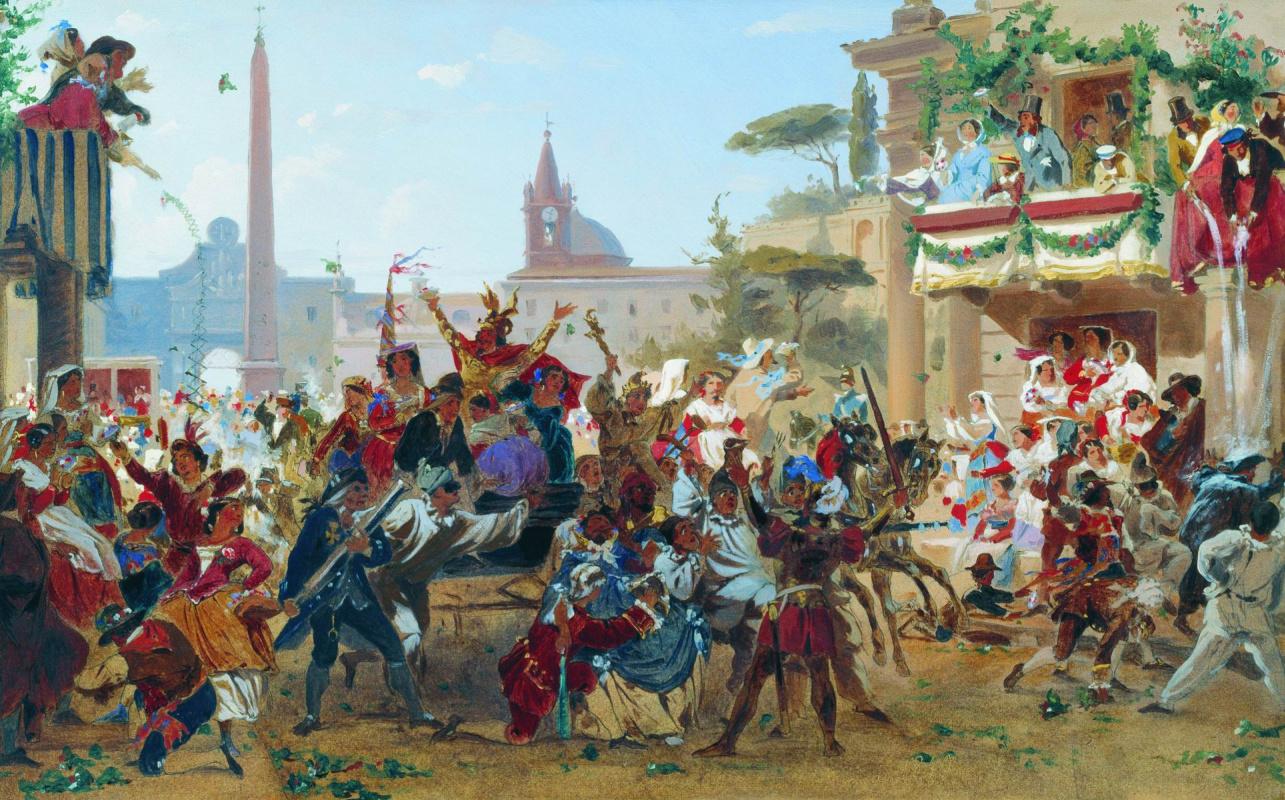 """Fyodor Bronnikov, """"Carnival in Rome. 1860"""""""