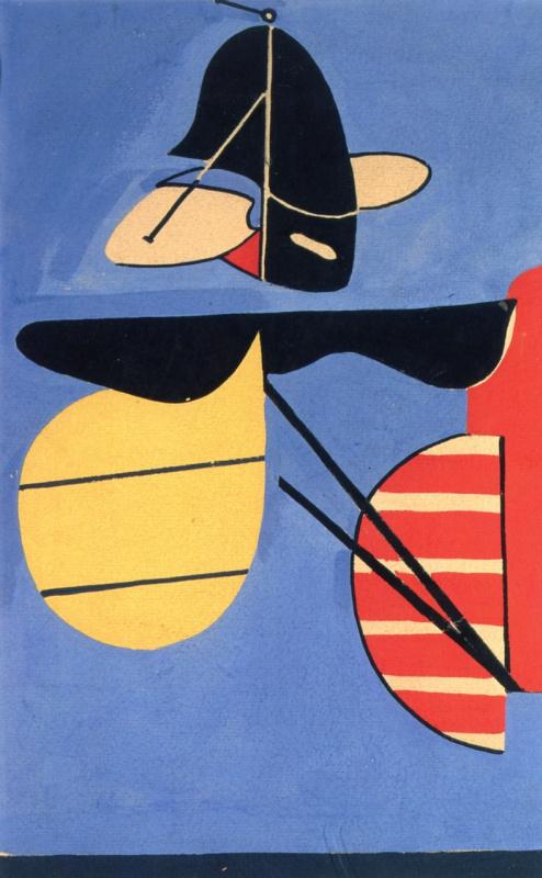 Аршиль Горки, эскиз для цикла«Авиация: эволюция форм в аэродинамических ограничениях II» (роспись в