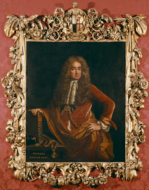 A portrait of Elias Ashmole in the frame made by Greenling Gibbons, before the restoration by the As