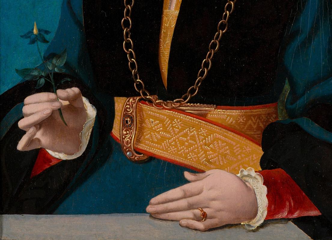 Фрагменты портретов Якоба Омфалиуса иЕлизаветы Беллингхаузен демонстрируют мастерство итщательност