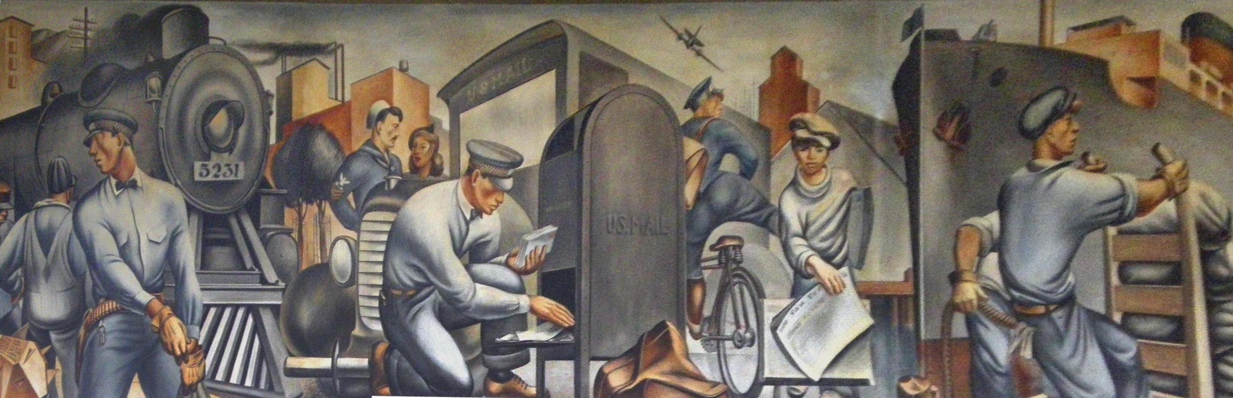 Флетчер Мартин, фреска «Перевозка почты» (1938) в почтовом отделении Сан-Педро, Калифорния