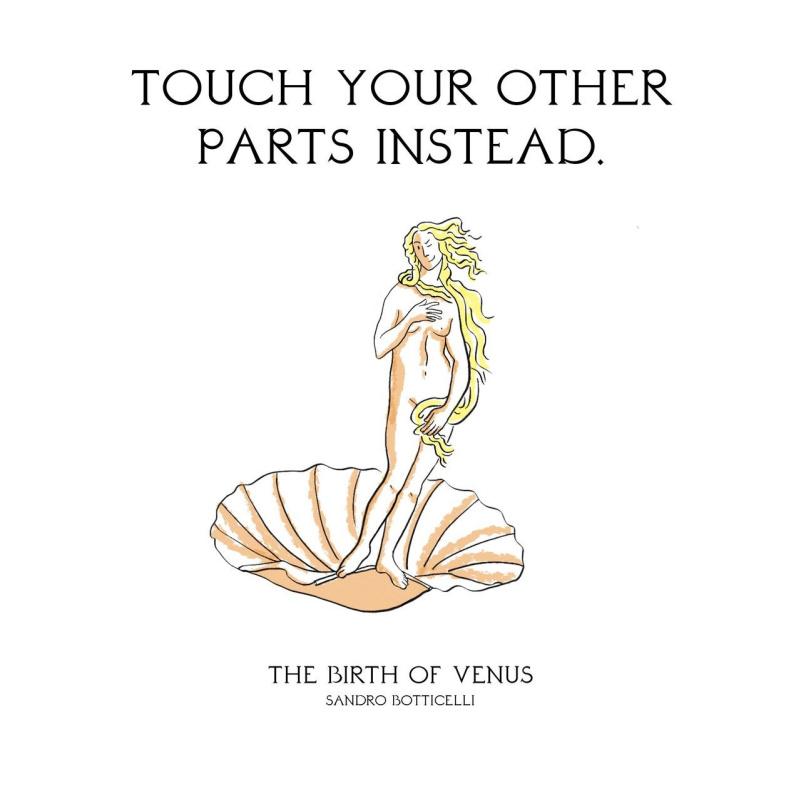 Трогать вместо этого другие части тела. «Рождение Венеры», Сандро Боттичелли