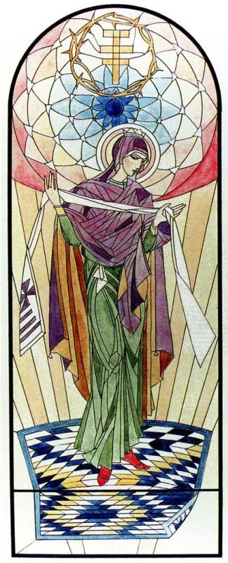 Эскиз витража, 1926  Бумага, акварель (источник изображения)