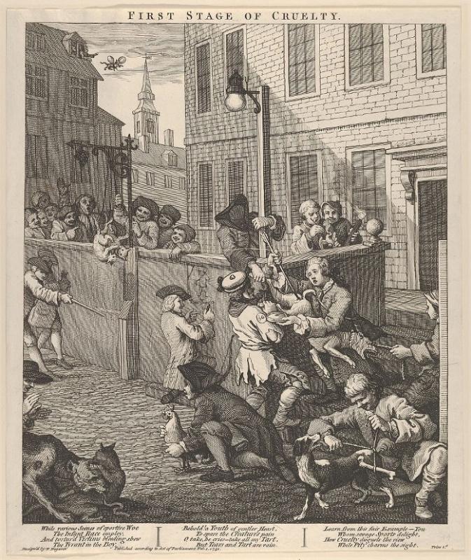 Уильям Хогарт, «Первая стадия жестокости» (1742)