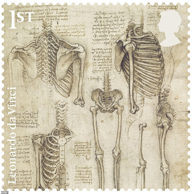 Британская почта выпустила марки к 500-летию со дня смерти Леонардо да Винчи Леонардо, Винчи, Калиоти, который, марок, также, Набросок, большой, самой, конной, статуи, заявил, Альберта, Виктории, Музея, которая, включает, модель, прототип, вылепил