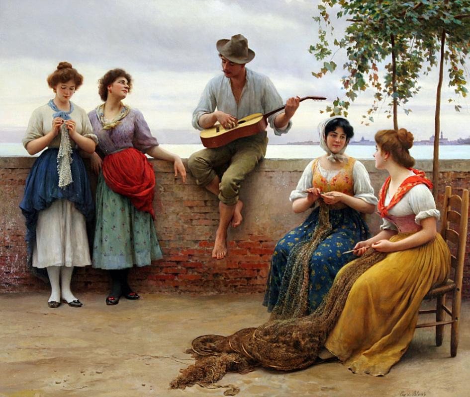 Eugene de Blaas, The Serenade, 1910