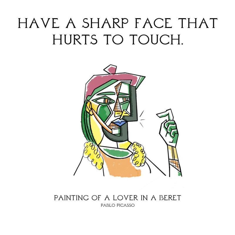 Обладать формой лица, которую трудно трогать. «Женщина в берете и клетчатом платье», Пабло Пикассо