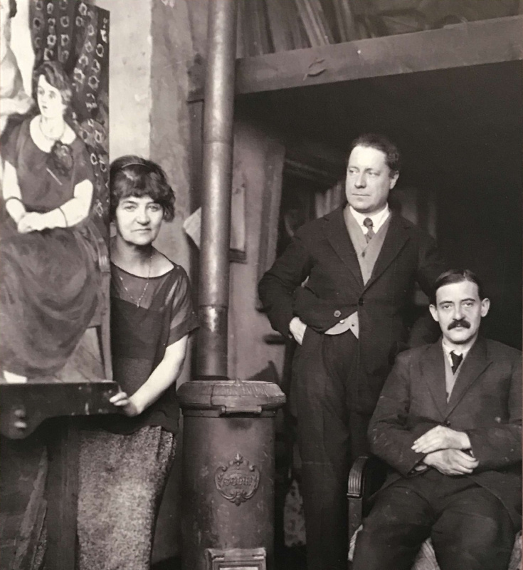 Left to right: Suzanne Valadon with her painting, André Utter, Maurice Utrillo