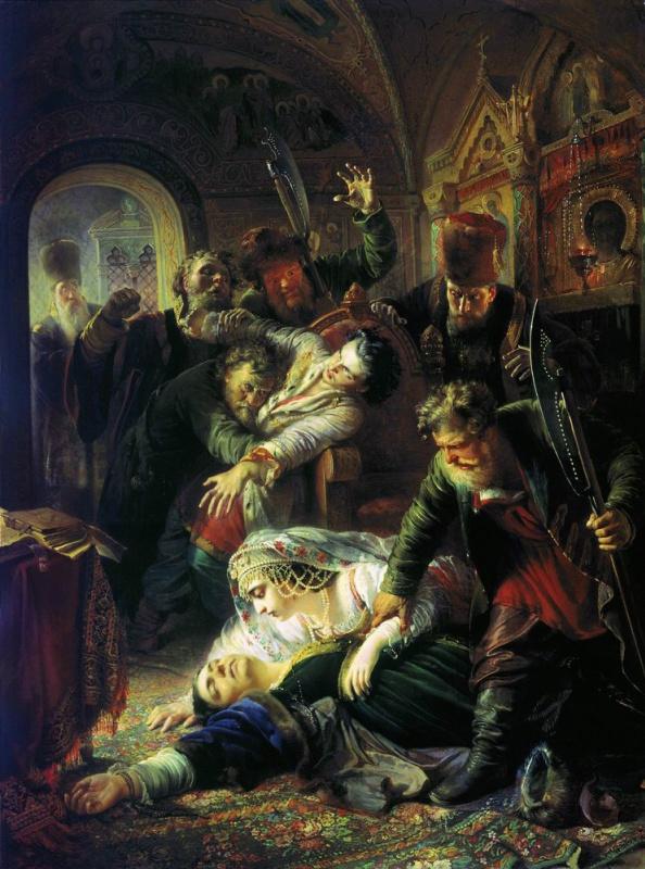 Konstantin Makovsky, The Agents of Dmitry the Pretender Kill the Son of Boris Godunov, 1862