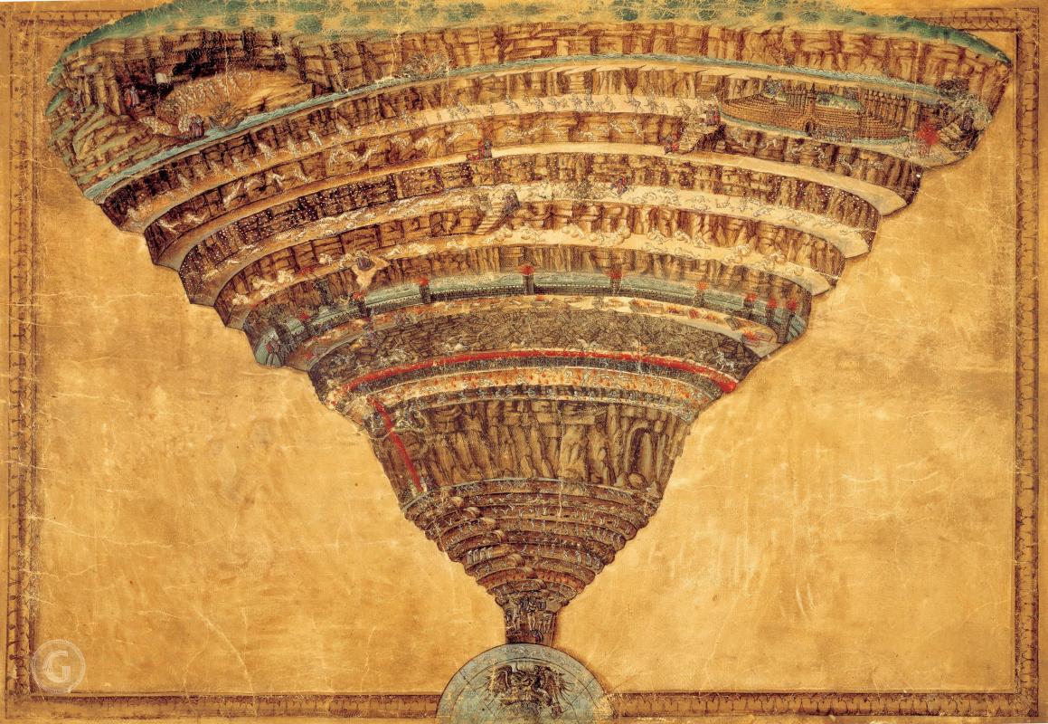 Sandro Botticelli. Inferno (Map of Hell), 1480—90