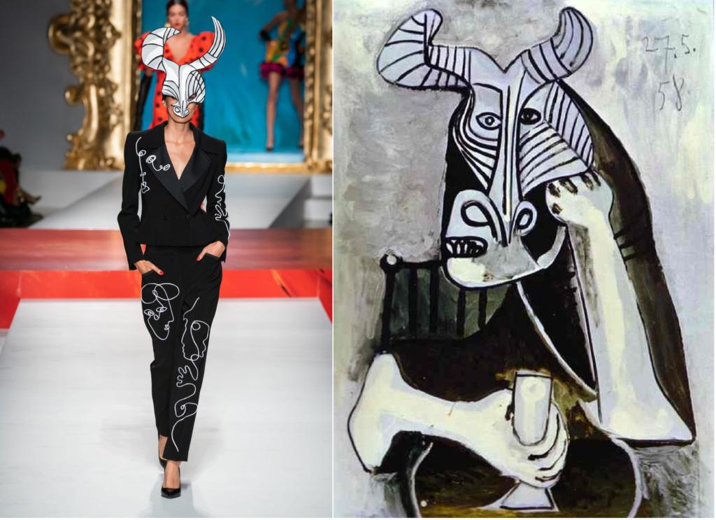 Одержимость Пикассо образом Минотавра нашла отклик в нескольких моделях Moschino