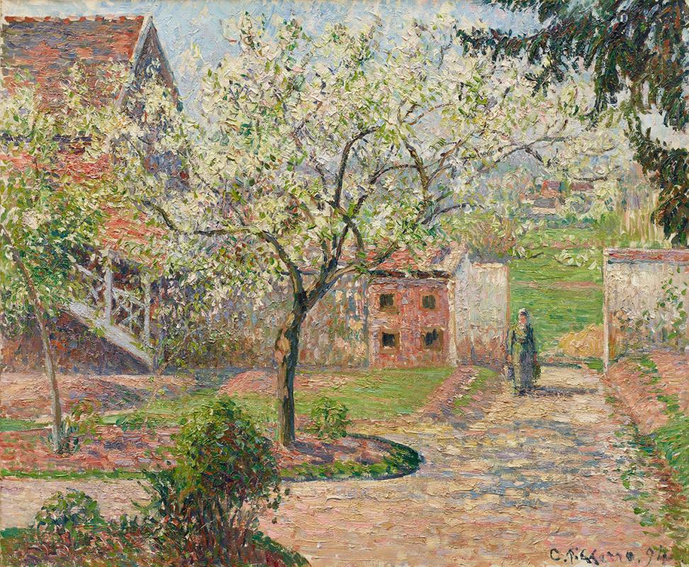 """Камиль Писсарро, """"Сливы в цвету, Эраньи. Дом художника"""" (1894)"""
