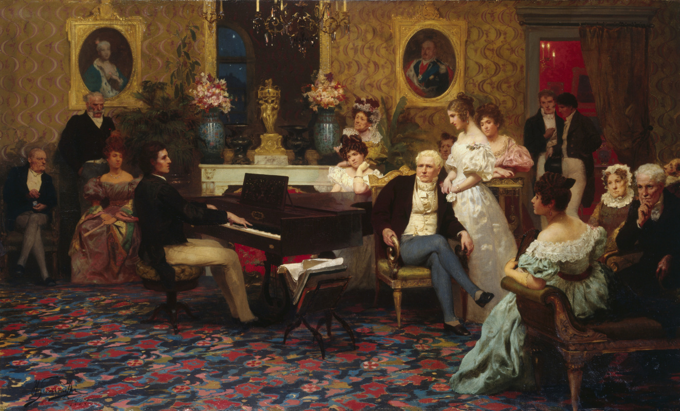 Henryk Siemiradzki, Chopin playing the piano in the salon of Prince Radziwill, 1887