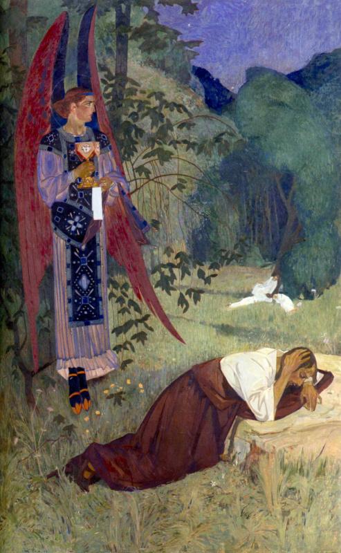 Молитва о чаше. 1920-е Доска, левкас, темпера. 200 x 132 см (источник изображения) Национальный музе