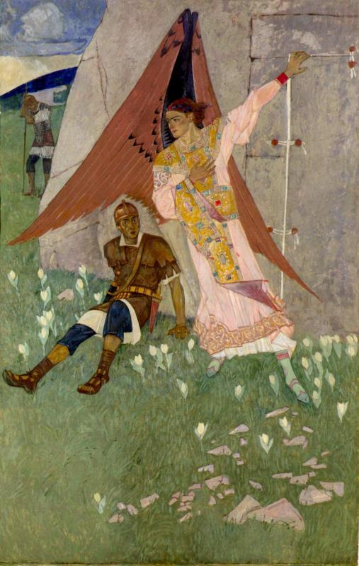 Ангел у гроба Господнего (Воскресение). 1920-е Доска, левкас, темпера. 201 x 131 см Национальный муз